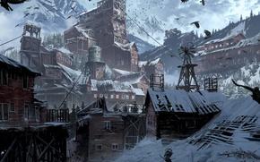 Обои Девушка, Горы, Снег, Арт, Tomb raider, Lara croft, Сибирь, Rise of the Tomb Raider