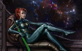 Картинка девушка, меч, воин, арт, Warhammer 40k, Eldar Farseer, Farseer