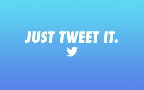 Обои logo, blue, twitter