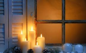 Картинка зима, снег, Новый Год, Рождество, light, Christmas, night, window, Xmas, decoration, candle, lantern, Merry