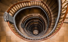 Картинка staircase, circle, stairs, spiral handrail