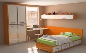 Картинка компьютер, оранжевый, дизайн, стиль, стол, комната, игрушки, кровать, интерьер, шкаф, ярко, квартира, красочно