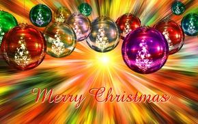 Картинка шарики, лучи, украшения, желтый, сияние, буквы, фон, праздник, надпись, яркие, игрушки, графика, блеск, новый год, …