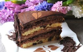 Картинка цветы, шоколад, торт, крем, десерт, кусок