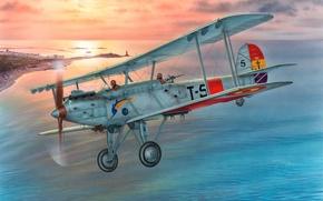 Картинка самолет, война, арт, художник, бомбардировщик, одномоторный, биплан, Испании, цельнометаллический, разработанный, фирмой, службе, торпедоносец, Vickers, применение, …