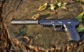 Обои пистолет, глушитель, FNH, Five-seveN