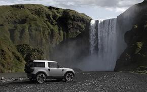 Обои land rover, sport, горы, скалы, пейзаж, водопад