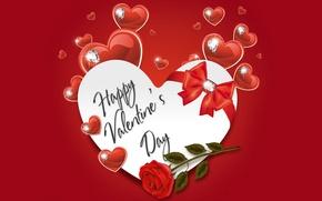 Картинка сердце, бриллианты, сердечки, love, rose, бант, heart, romantic, Valentine's Day, Happy