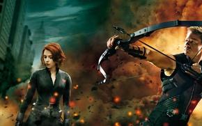 Картинка Scarlett Johansson, Скарлетт Йоханссон, Black Widow, Джереми Реннер, Мстители, Hawkeye, Черная Вдова, Jeremy Renner, Avengers, …