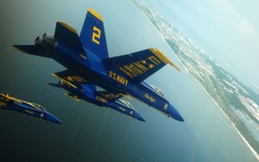 Картинка USA, United States, blue, fly, Hornet, F-18, Blue Angels, F18, Florida, bay, Navy, NAS Pensacola, ...