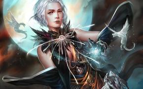 Картинка девушка, фантастика, магия, драконы, арт
