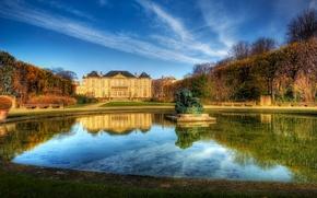 Картинка небо, вода, дом, париж, фонтан, франция, поместье