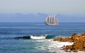Картинка камни, океан, волна, парусник, Португалия, Portugal, Атлантический океан, Atlantic Ocean, UAM Creoula, Peniche, Пениши