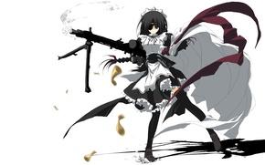 Картинка девушка, аниме, арт, горничная, пулемёт, повязка на глазу