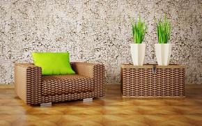 Картинка дизайн, интерьер, растения, кресло, подушка