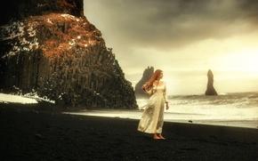 Картинка девушка, скалы, берег, TJ Drysdale, Heart Of The Sea