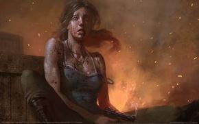 Картинка девушка, брызги, оружие, кровь, Лара Крофт, game wallpapers, Lara Croft, Расхитительница Гробниц, Tomb Raider fan …