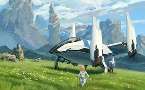 Картинка поле, трава, горы, планета, арт, spaceship