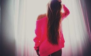 Картинка long hair, pink, women, window, brunette