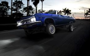 Обои пальмы, лоурайдер, impala, кабриолет, закат