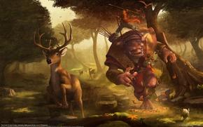 Обои гоблин, олень, охота, лес