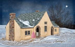 Картинка дом, стиль, праздник, ёлка