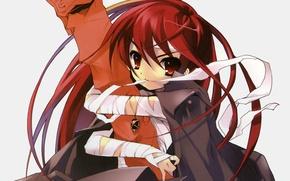 Картинка кулон, белый фон, плащ, shakugan no shana, shana, art, бинты, красные волосы, noizi Ito