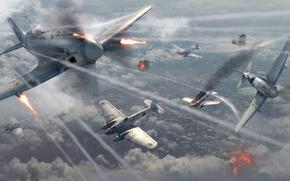 Картинка небо, облака, война, дым, истребитель, бомбардировщик, Арт, ОКБ, немецкий, МиГ-3, советский, средний, ВВС СССР, Микоян-Гуревич, ...