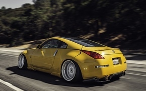 Картинка дорога, желтый, скорость, Nissan, 350z, ниссан, stance, в движение