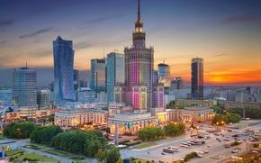 Картинка Дворец культуры и науки, вечер, Польша, Варшава, дома, панорама, центр