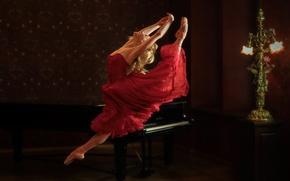 Картинка танец, пианино, балерина, Annija Kopstale