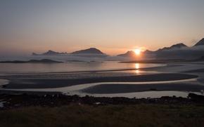 Картинка Norway, Yttersand Beach, Morning Fog, Fredvang Lofoten Islands