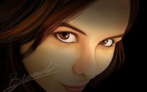 Картинка взгляд, девушка, улыбка, art, карие глаза, axt234