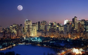 Картинка луна, Нью-Йорк, Манхэттен