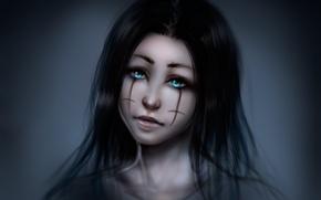 Картинка крупный план, портрет, Девушка, голубые глаза