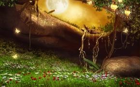 Картинка трава, цветы, корни, камни, фантастика, бабочка
