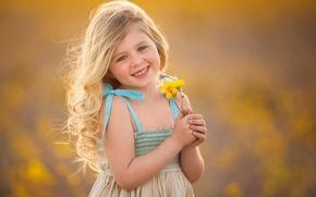 Картинка цветы, настроение, ребенок, девочка