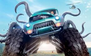 Обои cinema, film, car, Monster Trucks, movie, truck, alien, Lucas Till