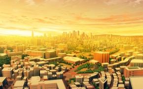 Картинка небо, облака, свет, яркий, город, рассвет, здания, дороги, утро, раннее, золотое, солнечный, перистые, Sunrise picture