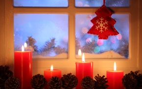 Картинка зима, снег, Новый Год, Рождество, light, Christmas, window, Xmas, decoration, candle, lantern, Merry