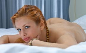Картинка взгляд, постель, рыжая, Анжела