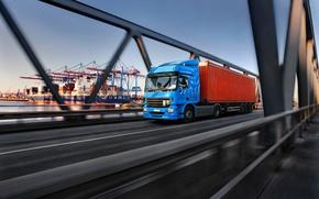 Обои скорость движение, доставка груза контейнера транспортировка, фургон трейлер фура, тягач, боке, размытость, wallpaper., порт, автомобиль, ...