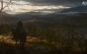 Обои орел, лошадь, вечер, ассасин, Assassin's Creed III, Радунхагейду, Коннор Кенуэй[, конор, индеец-полукровка