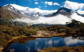 Картинка небо, горы, природа, река