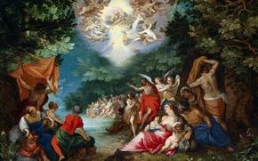Обои картина, Крещение Господне, Ян Брейгель старший, мифология, религия