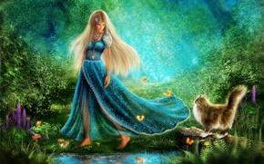 Картинка зелень, кот, девушка, бабочки, цветы, пруд, платье