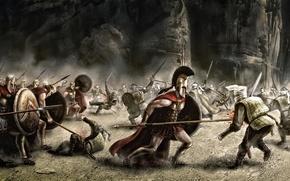 Обои оружие, войны, арт, битва, 300 spartans