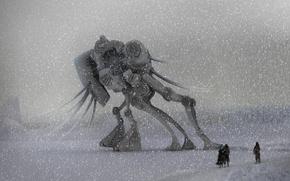 Обои миры, робот, снегопад, зима