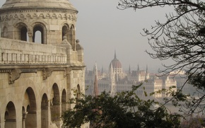 Картинка панорама, архитектура, panorama, architecture, Венгрия, Будапешт, Budapest, здание парламента, Hungarian Parliament