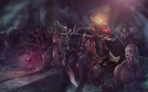 Картинка Diablo 3, rpg, Demon Hunter, Witch Doctor, Barbarian, Wizard, Monk